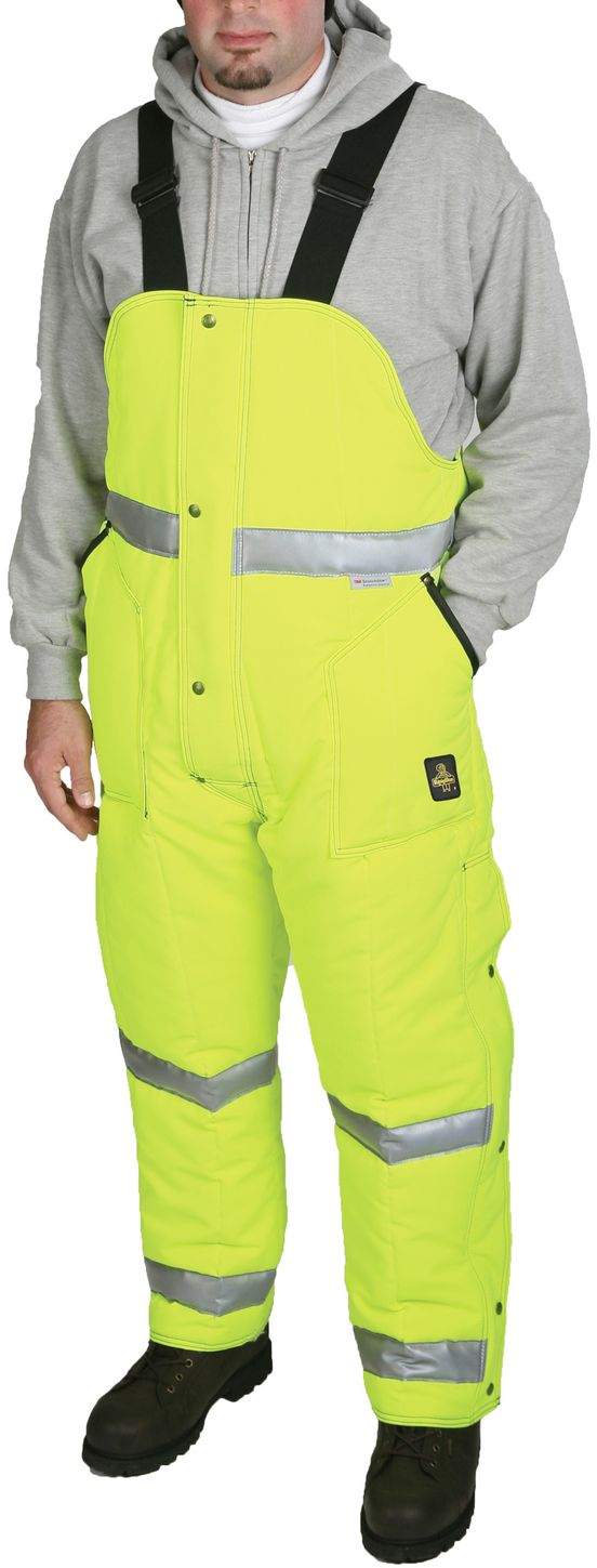 RefrigiWear 0385L2 HiVis Iron-Tuff High Bib Overall Lime Yellow Example