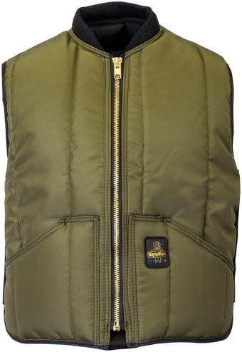 RefrigiWear 0399 Iron-Tuff Insulated Work Vest Sage Front