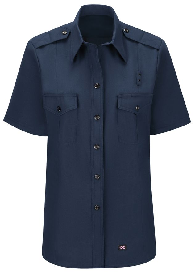Workrite FR Women's Fire Chief Shirt FSC3, Classic Short Sleeve Navy Front