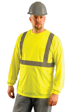 Occunomix LUX-LSET2B Hi-Viz Long Sleeve Wicking Birdseye T-Shirt