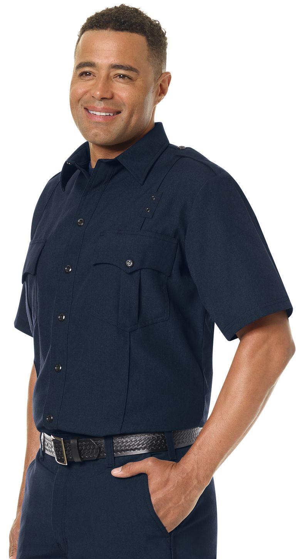 Workrite FR Fire Officer Shirt FSE2, Classic Short Sleeve Midnight Navy Example Left