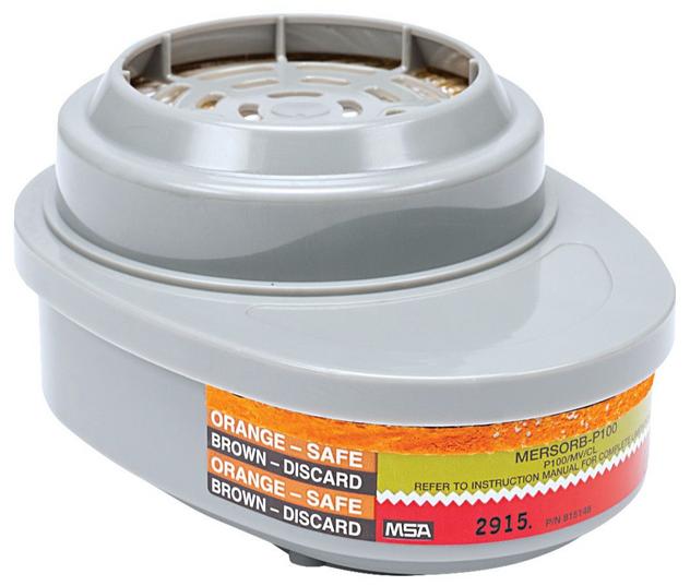 MSA Advantage 815368 Mercury Vapor & Chlorine Mersorb Cartridge with P100 Filter