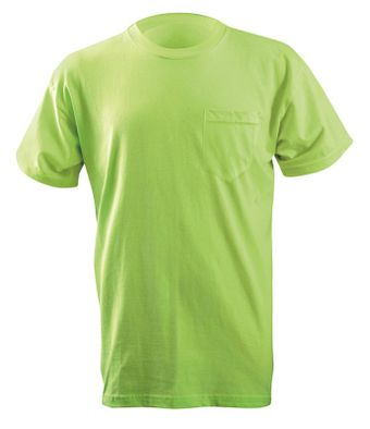 Occunomix LUX-300P Classic Cotton Short Sleeve T-Shirt w/Pocket Lime Front