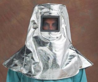 "CPA 19 oz Aluminized Rayon Heavy Helmet with 4.5"" x 5.25"" Fixed Window"