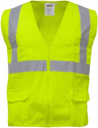 RefrigiWear 0198 Zipper Mesh Safety Vest Lime Front
