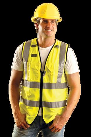 Occunomix LUX-SSFULLZ Hi-Viz Solid Dual Stripe Surveyor Vest With Zipper