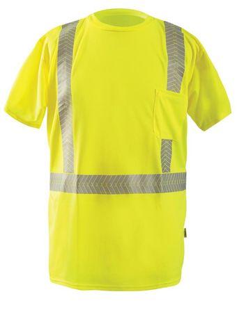 Occunomix LUX-TSSP2B Short Sleeve Segmented Tape T-Shirt w/Pocket Yellow Front