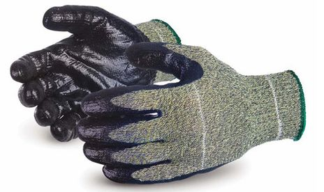 Superior Emerald CX SCXSMNT Kevlar/Wire-Core/Nylon Gloves with Stainless Steel Reinforced Nitrile Palms