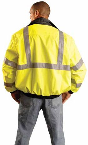 Occunomix OccuLux Rain Jacket LUX-TJBJ - High Visibility Bomber Back Example