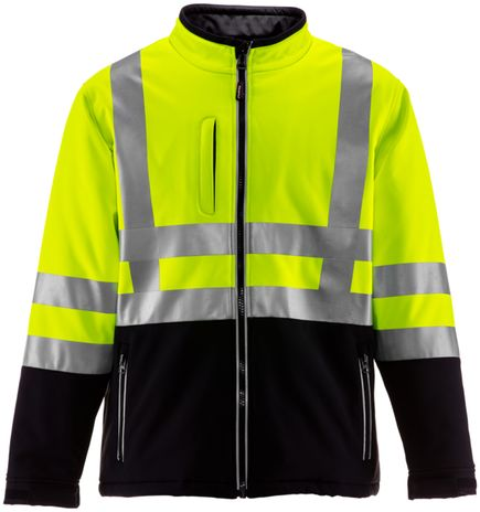 RefrigiWear 0496 Softshell HiVis Winter Work Jacket HiVis Lime Yellow With Reflective Tape Front