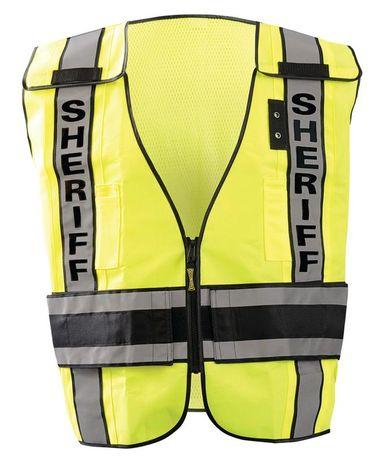Occunomix LUX-DPSS-DOR Deluxe Solid/Mesh Break-Away Public Safety Vest w/DOR, Sheriff Front