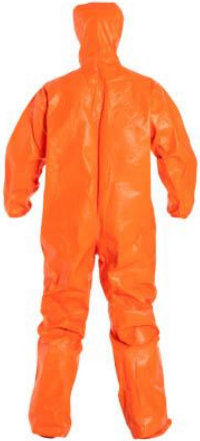 DuPont Tychem ThermoPro Suit with Hood - Elastic Wrists - Socks - Double Storm Flap - TP199T Back