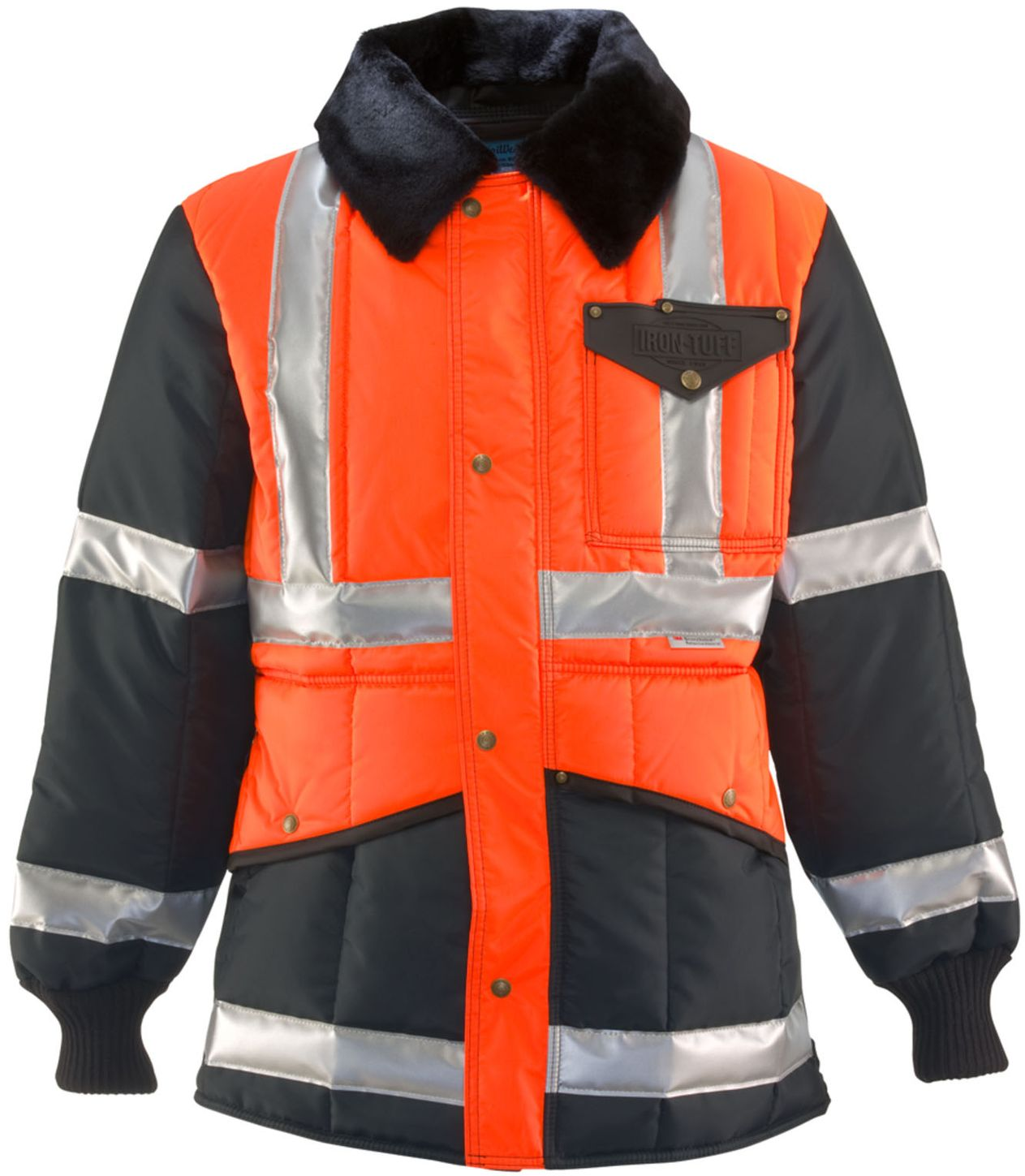 RefrigiWear 0342 - HiVis Iron-Tuff Two-Tone Jackoat Orange-Navy Front