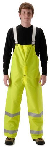 nasco worklite yellow hi viz lightweight tear resistant foul weather bibs