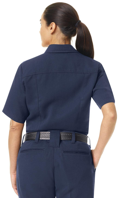 Workrite FR Women's Shirt FSM3, Station No. 73, Uniform Navy Example Back