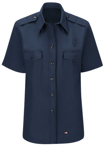 Workrite FR Women's Fire Chief Shirt FSC3, Classic Short Sleeve Navy Front
