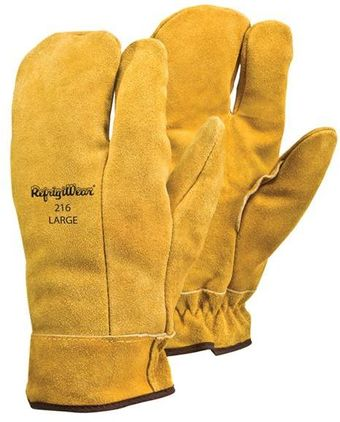 RefrigiWear Cold Weather Apparel - Three-Finger Leather Mitt 0216