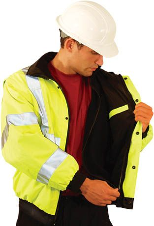 Occunomix OccuLux Rain Jacket LUX-TJBJ - High Visibility Bomber with Zip Out Liner
