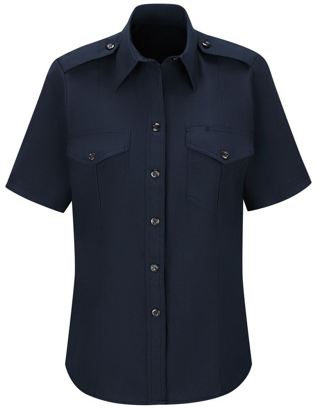 Workrite FR Women's Chief Shirt FSC7, Classic Short Sleeve Midnight Navy Front