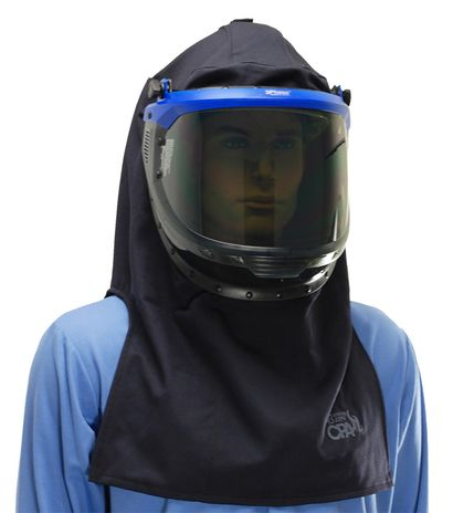 Chicago Protective arc flash hood with flip up visor lowered position