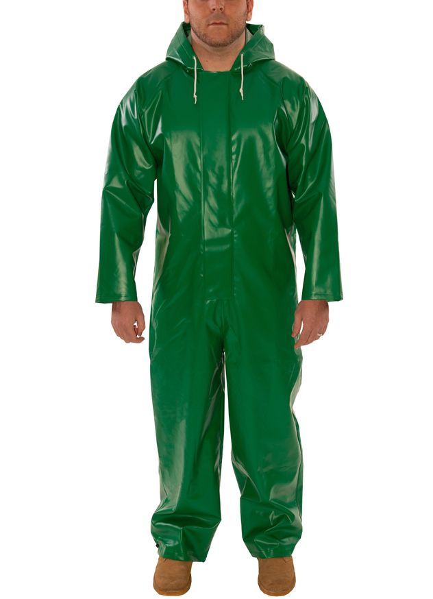 Tingley V41108 Safetyflex® Fire Resistant Coverall - PVC Coated, Chemical Resistant, with Attached Hood Front