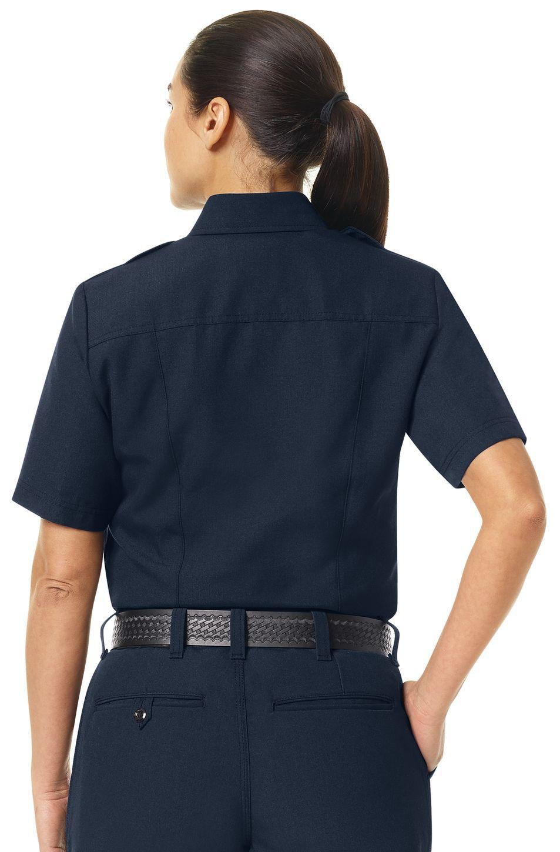 Workrite FR Women's Fire Officer Shirt FSE3, Classic Short Sleeve Navy Midnight Navy Example Back