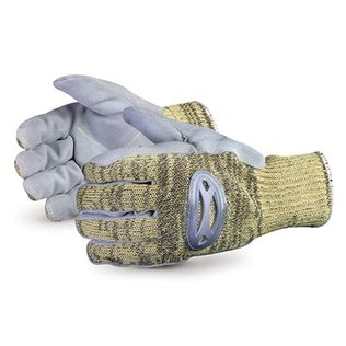 Superior Glove Action Cut Proof Gloves SKSMLP - String Kevlar/ Steel Glove, Steel Mesh lined w/ Split Leather Palms
