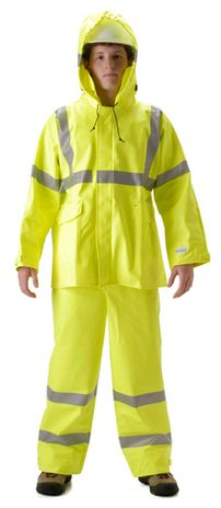 nasco sentinel yellow hi vis fire resistant arc flash rain suit