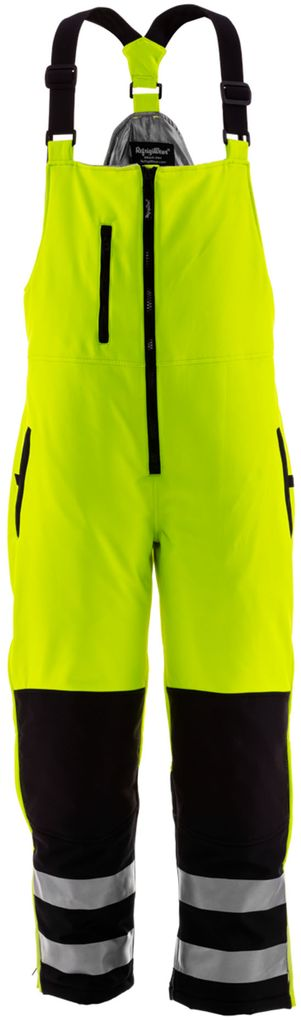 RefrigiWear 0497 HiVis Insulated Softshell Bib Overalls Black Lime Front