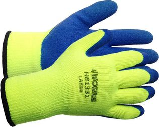 4Works HB1331 Latex Coated Winter Gloves - Yellow Shells