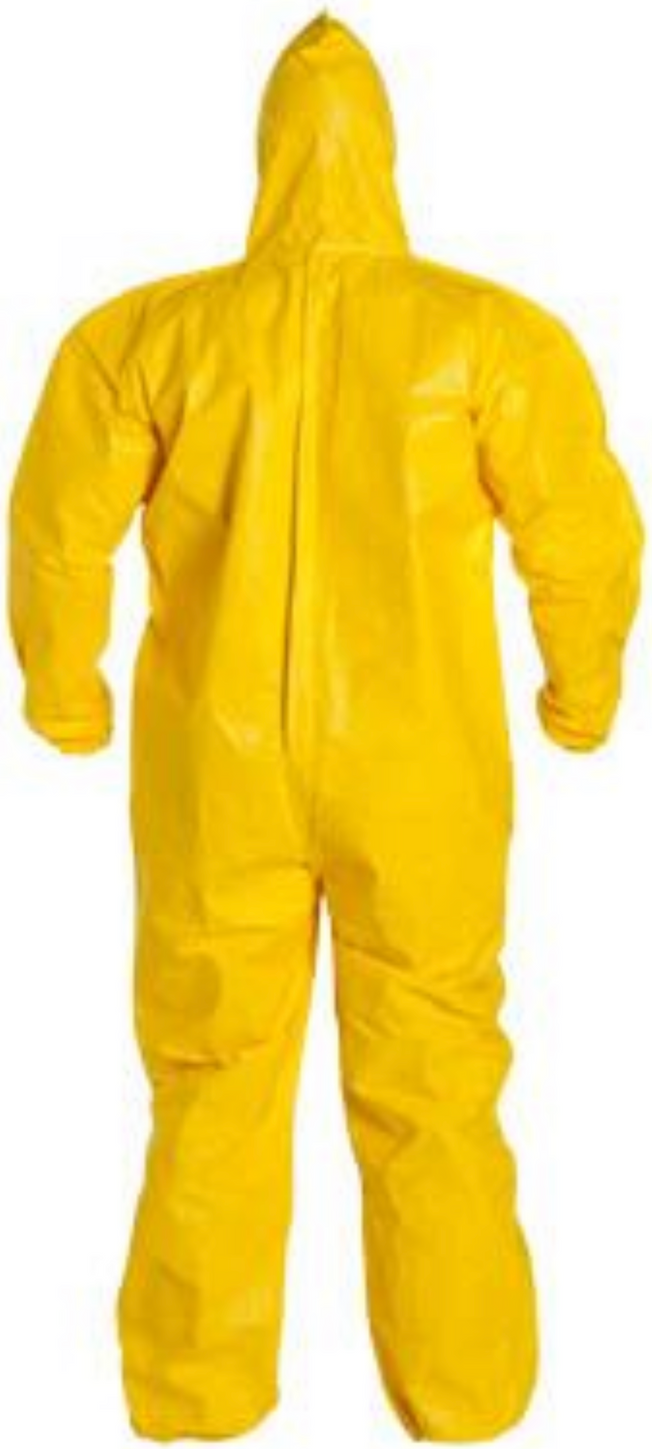 DuPont Tychem QC Coverall with Hood & Elastic Wrists & Ankles - QC127 Back