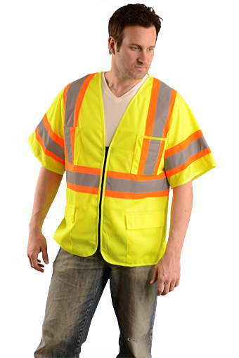 Occunomix OK-5050313 Hi-Viz Two Tone Mesh Vest With Zipper