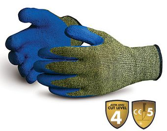 Superior Emerald CX Kevlar Cut Resistant Gloves w/ Stainless Steel Wire Core & Latex Coated Palms SCXLX