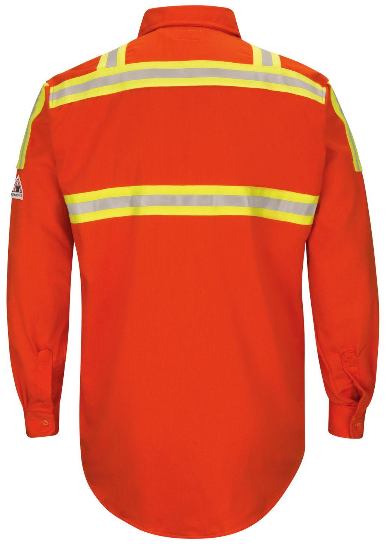 bulwark-fr-shirt-slat-midweight-enhanced-visibility-uniform-silver-yellow-striping-orange-back.jpg