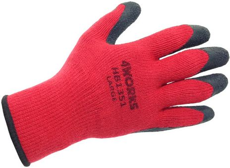 4Works HB1351 Red Acrylic Winter Work Gloves, Crinkle Latex Coated