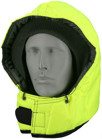 RefrigiWear 0081HV - HiVis Iron-Tuff Snap-On Hood Lime