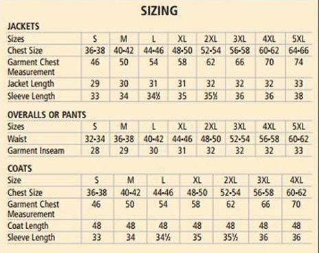 Tingley Protective Clothing Size Chart