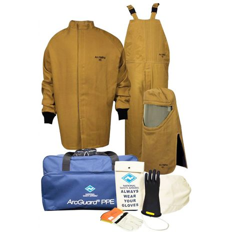 National Safety Apparel Arc Flash Suit KIT4SC65 65 Calorie With Jacket And Bib Overall HRC 4 Bright