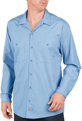 Dickies Men's Shirts - Long Sleeve Industrial Work Shirt LL535 - Light Blue