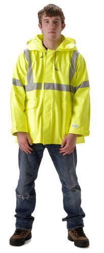 nasco sentinel yellow hi vis flash fire chemical resistant rain jacket