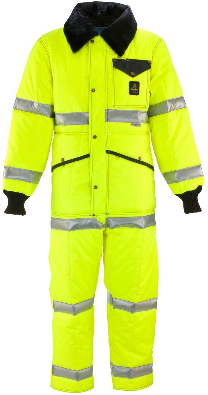 RefrigiWear 0344L2 Hivis Iron-Tuff Coverall Lime Front