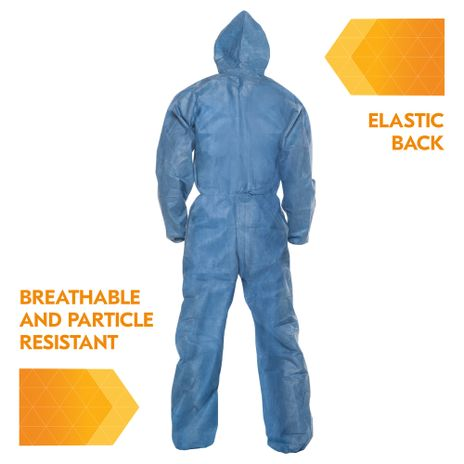Kimberly Clark Kleenguard Coverall A20 Breathable - Blue Elastic Back Wrists Ankles and Hood Back