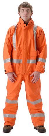 nasco petrolite orange hi vis fire petroleum resistant rain suit