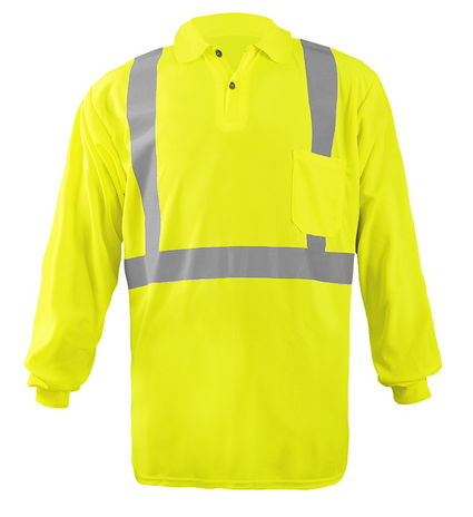 Occunomix LUX-LSPP2B Long Sleeve Wicking Birdseye Polo Shirt w/Pocket Front Yellow