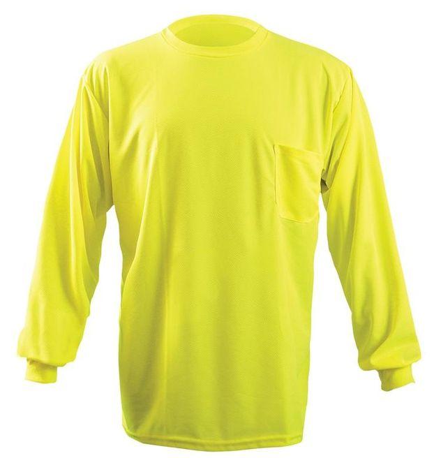 Occunomix LUX-XLSPB Non-ANSI Long Sleeve Wicking Birdseye T-Shirt w/Pocket Front Yellow