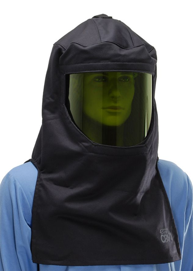 Category 4 arc flash suit hood - fixed green window