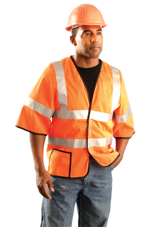 Occunomix LUX-HSCOOL3-O Mesh Dual Stripe Vest, Orange