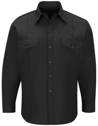 Workrite FR Firefighter Shirt FSF4, Classic Long Sleeve, Western Black Front