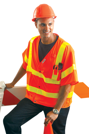 Occunomix LUX-HSLDMS3 Hi-Viz Mesh Gloss Dual Stripe Vest With Snaps