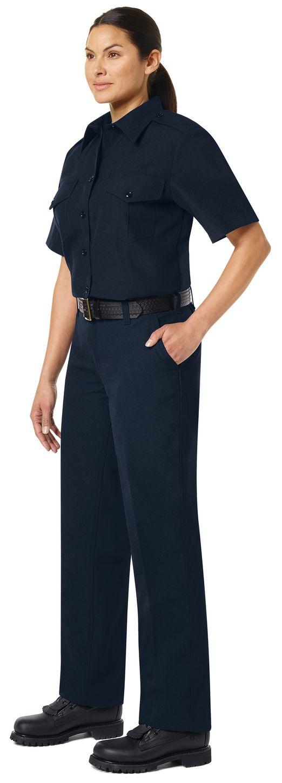 Workrite FR Women's Chief Shirt FSC7, Classic Short Sleeve Midnight Navy Example Left